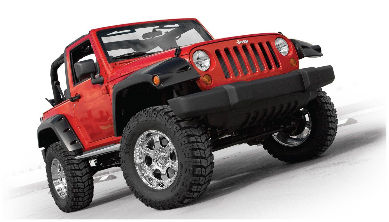jeep wrangler jk 2 door bushwacker pocket fender flares set of 4 custom truck 4wd. Black Bedroom Furniture Sets. Home Design Ideas